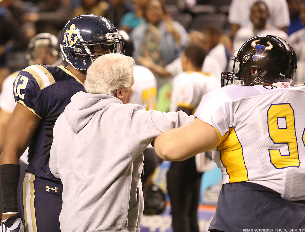 Mar 20, 2014; Baltimore, MD, USA; The Baltimore Mariners against the A.S.I Panthers in an American Indoor Football preseason game at the Baltimore Arena in Baltimore, MD. Mandatory Credit: Brian Schneider-www.ebrianschneider.com