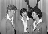 Irish ladies Golf Team who recieved the Cospoir/ Glen Abbey Hosiery Women in Sport Award in Jury's Hotel, (L-R) Philomena and Carol Wickham and Clare Houlihan, circa July 1983 (Part of the Independent Newspapers Ireland/NLI Collection).