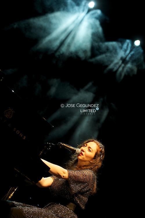 Russian singer Regina Spektor performs on stage during Los Veranos de la Villa at Circo Price in Madrid