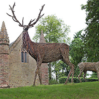 Scone Palace deer statues<br /> COPYRIGHT: Perthshire Picture Agency.<br /> Tel. 01738 623350 / 07775 852112.