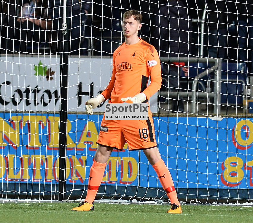 Falkirk goalkeeper Conor Hazard in his first game after signing from Celtic during the Scottish Championship match between Falkirk and Brechin City at the Falkirk Stadium.<br /> <br /> (c) Dave Johnston | SportPix.org.uk
