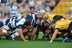 The packs engage at a scrum - Photo mandatory by-line: Patrick Khachfe/JMP - Mobile: 07966 386802 21/09/2014 - SPORT - RUGBY UNION - Bristol - Ashton Gate - Bristol Rugby v Cornish Pirates - GK IPA Championship.