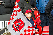 Fleetwood Town fan during the EFL Sky Bet League 1 match between Fleetwood Town and Blackburn Rovers at the Highbury Stadium, Fleetwood, England on 20 January 2018. Photo by Michal Karpiczenko.