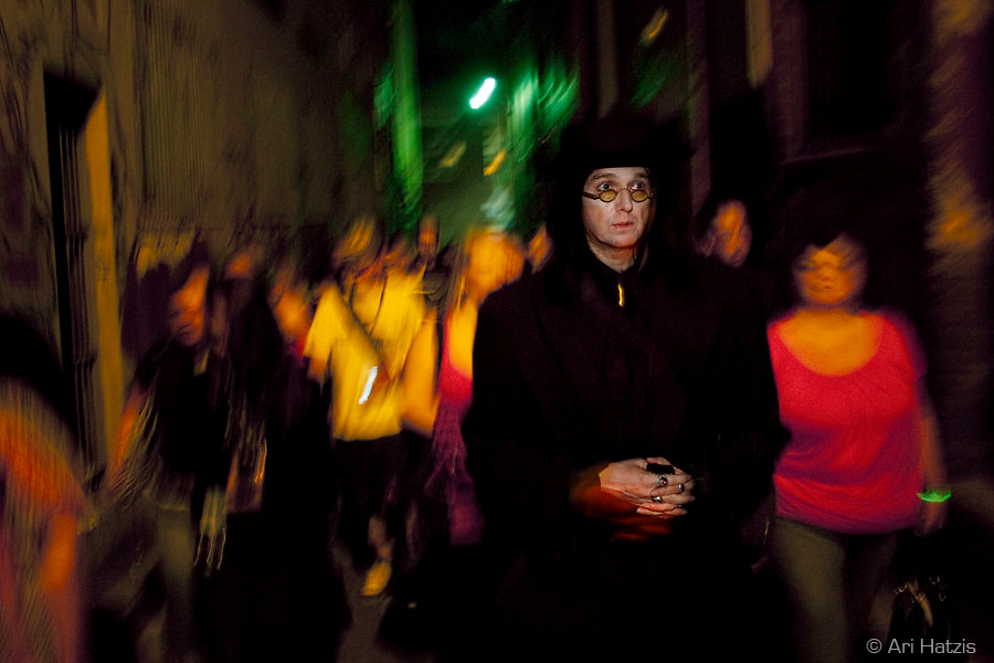 Drew Sinton of the Haunted Bookshop takes a group on an evening tour of Haunted Melbourne.