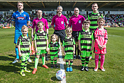 Officials, captains and mascots during the EFL Sky Bet League 2 match between Forest Green Rovers and Grimsby Town FC at the New Lawn, Forest Green, United Kingdom on 5 May 2018. Picture by Shane Healey.