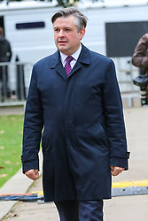 © Licensed to London News Pictures. 07/01/2019. London, UK. Jonathan Ashworth MP, Shadow Secretary of State for Health and Social Care arrives for an interview in the media centre on College Green. Photo credit: Dinendra Haria/LNP