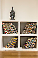 Vinyl records in shelf