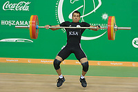 Ashgabat 2017 - 5th Asian Indoor & MartialArts Games 17-09-2017. Mens 92kg weightlifting - Serej Alsaleem (KSA) competes in the snatch competition