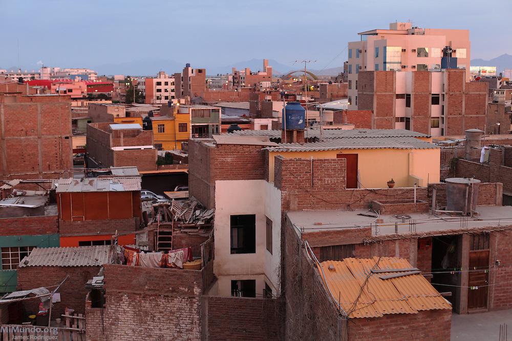Panorama of the city of Chiclayo, Peru's fourth largest metropolitan area with nearly 1 million people. Chiclayo, Chiclayo, Lambayeque, Peru. February 27, 2013.