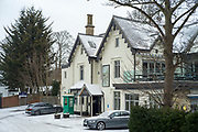 "Maidenhead, United Kingdom.  General View  ""Boulters Restaurant and Bar "" Raymill Island Winter Snow. Banks of the River Thames. <br /> <br /> Friday  02/03/2018 <br /> <br /> © Peter SPURRIER,<br /> <br /> Leica Camera AG  LEICA M (Typ 262)  1/125 sec  50mm 4.8 320 ISO.  28.8MB"