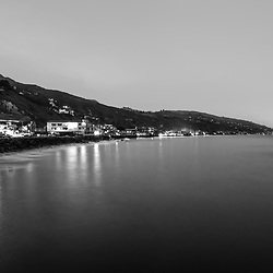 Malibu California coastline at night black and white photo. Malibu is a coastal city along the Pacific Ocean in Southern California in the United States. Copyright ⓒ 2015 Paul Velgos with All Rights Reserved.