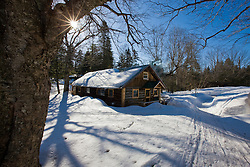 Early morning outside the bunkhouse at Little Lyford Pond Camps near Greenville, Maine.  Winter.