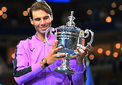 September 8, 2019, Flushing Meadow, NY, USA: FLUSHING MEADOW, NY - SEPTEMBER 08: Rafael Nadal (ESP) poses with the trophy after winning the men's singles title of the US Open on September 8, 2019, at the Billie Jean King Tennis Center in Flushing Meadow, NY. (Photo by Cynthia Lum/Icon Sportswire) (Credit Image: © Cynthia Lum/Icon SMI via ZUMA Press)