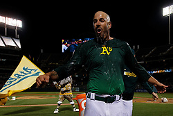 OAKLAND, CA - MAY 07: Mike Fiers #50 of the Oakland Athletics has Gatorade poured on him by teammates after pitching a no-hitter against the Cincinnati Reds at the Oakland Coliseum on May 7, 2019 in Oakland, California. The Oakland Athletics defeated the Cincinnati Reds 2-0. (Photo by Jason O. Watson/Getty Images) *** Local Caption *** Mike Fiers
