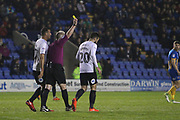 Booking for 20 Michael Doughty for Peterborough United during the EFL Sky Bet League 1 match between Shrewsbury Town and Peterborough United at Greenhous Meadow, Shrewsbury, England on 24 April 2018. Picture by Graham Holt.