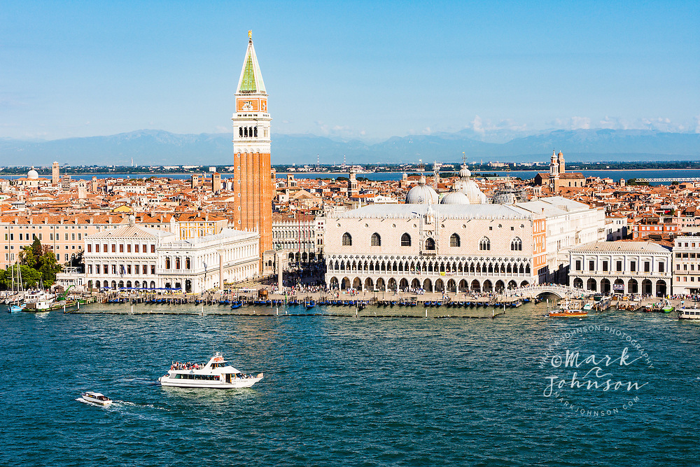 St. Mark's Campinale and the Palazzo Ducale on the Grand Canal waterfront, Venice, Italy, Europe