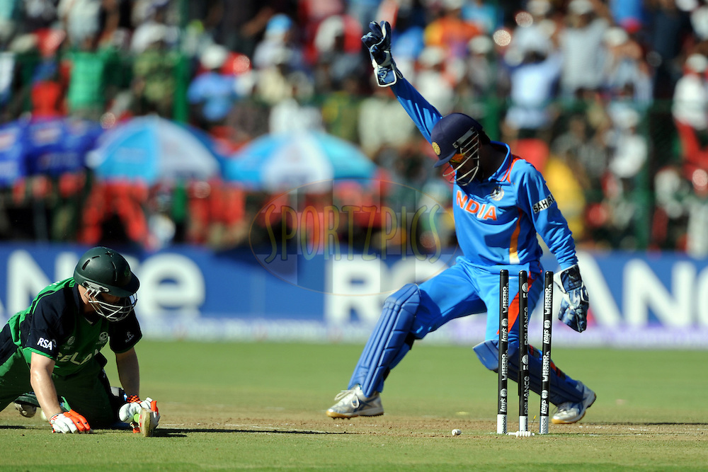 Mahendra Singh Dhoni captain of India celebrate the wicket of Niall O'brien of Ireland during the ICC Cricket World Cup match between  India and Ireland held at the M Chinnaswamy Stadium in Bengaluru, Bangalore, Karnataka, India on the 6 March 2011..Photo by Pal Pillai/BCCI/SPORTZPICS  .