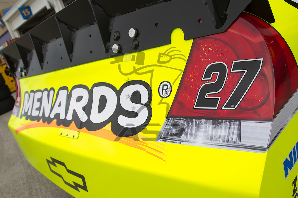 Kansas City, KS - APR 20, 2012:  Paul Menard (27) car in the garage before a practice session for the STP 400 race at the Kansas Speedway in Kansas City, KS.