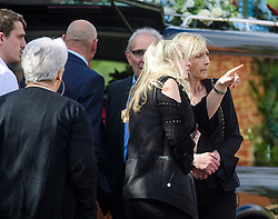 © Licensed to London News Pictures. 05/05/2017. London, UK. AMANDA RHODES (far right) Mr Rhodes niece, attends the service. The funeral of Westminster Terror attack victim Leslie Rhodes takes place at North East Surrey Crematorium in Morden, South London. Leslie Rhodes, who was Winston Churchill's former window cleaner, suffered serious injuries when terrorist Khalid Masood mowed down and killed 4 pedestrians on Westminster Bridge before attacking and killing a police officer with a knife.  Photo credit: Ben Cawthra/LNP