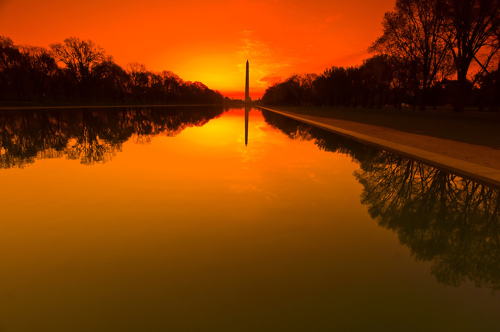 The Reflecting Pool with the Washington Monument in background, in predawn light, Washington, District of Columbia, USA
