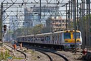 Office workers on crowded commuter train of Western Railway near Mahalaxmi Station on the Mumbai Suburban Railway, India