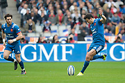 Francois Trinh-Duc (FRA) kicked the ball, Maxime Machenaud (FRA) during the NatWest 6 Nations 2018 rugby union match between France and England on March 10, 2018 at Stade de France in Saint-Denis, France - Photo Stephane Allaman / ProSportsImages / DPPI
