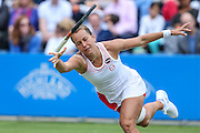 Barbora Strycova lets go of her racket whilst attempting a shot during the Aegon Classic at Edgbaston Priory Club, Birmingham, United Kingdom on 19 June 2016. Photo by Shane Healey.
