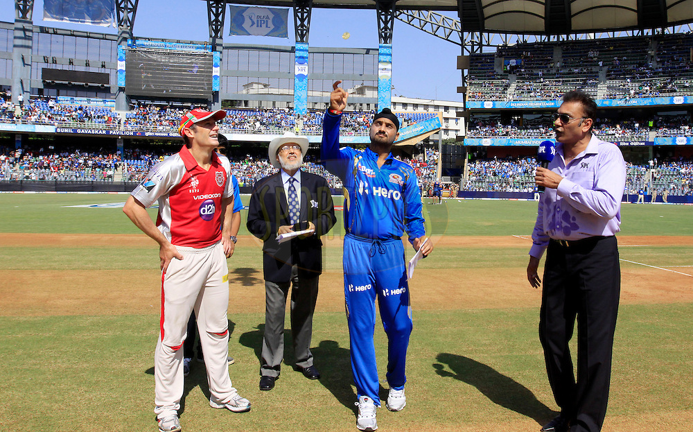 during match 28 of the Indian Premier League ( IPL) 2012  between The Mumbai Indians and the Kings X1 Punjab held at the Wankhede Stadium in Mumbai on the 22nd April 2012..Photo by: Vipin Pawar/IPL/SPORTZPICS