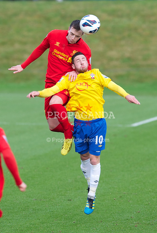 KIRKBY, ENGLAND - Monday, January 14, 2013: Liverpool's Danny Wilson in action against Southampton's Joe Curtis during the Under 21 FA Premier League match at the Kirkby Academy. (Pic by David Rawcliffe/Propaganda)