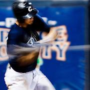 161104 Baseball, NCAA, Cal State Fullerton - Cypress College<br /> First Base/Pitcher, Garrett Calvert, Cypress Chargers, swings the batt.<br /> © Daniel Malmberg/Sports Shooter Academy 13