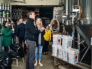 20 MAY 2019 - DAVENPORT, IOWA: BETO O'ROURKE talks to DAWN LEHNERT, co-owner of Great River Brewery, about the flood that swept through her business. O'Rourke, running to be the 2020 Democratic nominee for the US Presidency, has made climate change a central part of his campaign. He toured flood damage in Davenport Monday. The Mississippi River flooded through downtown Davenport on April 30 and much of downtown is still recovering from the flood.    PHOTO BY JACK KURTZ