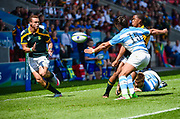 South Africa wing Stedman-Ghee Rivett Gans feeds the ball to full-back Curwin Bosch during the World Rugby U20 Championship 3rd Place play-off  match Argentina U20 -V- South Africa U20 at The AJ Bell Stadium, Salford, Greater Manchester, England on Saturday, June 25, 2016.(Steve Flynn/Image of Sport)