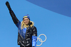 February 14, 2018 - Pyeongchang, South Korea - STINA NILSSON of Sweden celebrates getting the gold medal in the Woman's Sprint Classic cross country skiing event in the PyeongChang Olympic games. (Credit Image: © Christopher Levy via ZUMA Wire)
