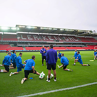 Rosenborg v St Johnstone....17.07.13  UEFA Europa League Qualifier.<br /> St Johnstone players train in the Lerkendal Stadium<br /> Picture by Graeme Hart.<br /> Copyright Perthshire Picture Agency<br /> Tel: 01738 623350  Mobile: 07990 594431