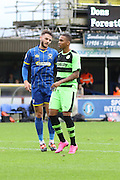 Callum Kennedy of AFC Wimbledon levels for  the Dons during the The FA Cup match between AFC Wimbledon and Forest Green Rovers at the Cherry Red Records Stadium, Kingston, England on 7 November 2015. Photo by Stuart Butcher.