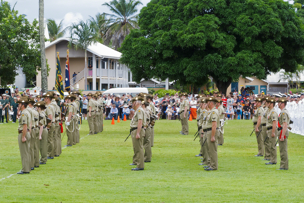Australian army soldiers in formation for Cairns 2010 ANZAC day parade service.
