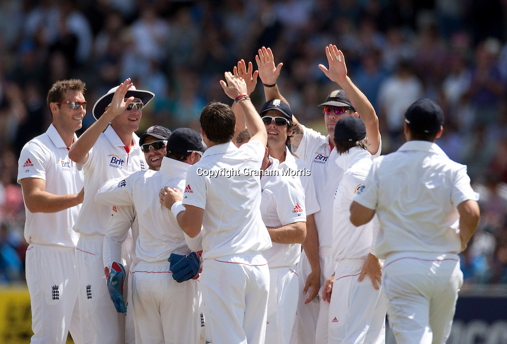 James Anderson celebrates having VVS Laxman caught during the first npower Test Match between England and India at Lord's Cricket Ground, London.  Photo: Graham Morris (Tel: +44(0)20 8969 4192 Email: sales@cricketpix.com) 25/07/11