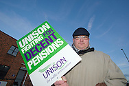 Simon Morris, Kirklees Unison member on the TUC Day of Action 30th November, Huddersfield.