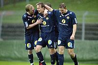 Fotball, 13. mai 2003, NM fotball herrer, Strømsgodset-Bærum, Kim Larsen, Lasse Olsen og Lars Granaas, Strømsgodset jubler etter Larsens scoring