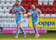 Andy Robinson of Tranmere Rovers (right) returns the ball to the centre spot after an own goal makes it 3-1 during the Sky Bet League 1 match at the Lamex Stadium, Stevenage<br /> Picture by David Horn/Focus Images Ltd +44 7545 970036<br /> 08/03/2014