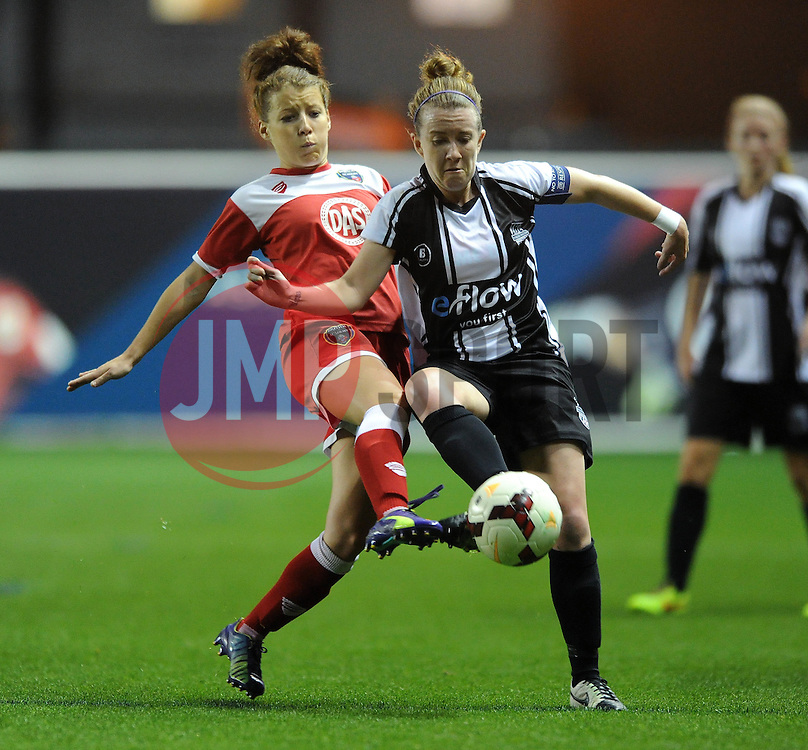 Bristol Academy Womens' Angharad James challenges for the ball with Raheny United's Rebecca Creagh - Photo mandatory by-line: Dougie Allward/JMP - Mobile: 07966 386802 - 16/10/2014 - SPORT - Football - Bristol - Ashton Gate - Bristol Academy v Raheny United - Women's Champions League