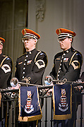 US Armed Forces Honor Guard Herald Trumpets during the official arrival ceremony of the Chinese Premier at the White House April 8, 1999 in Washington D.C.