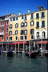 Venice, Italy: Gondolas line the Grand Canal.