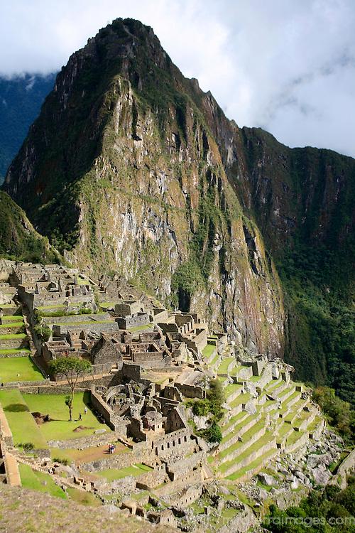 South America, Peru, Machu Picchu. Huayna Picchu looms over the citadel of Machu Picchu.