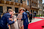 King Willem-Alexander and Queen Maxima of The Netherlands with Grand Duke Henri and Grand Duchess Maria Teresa during a official farewell ceremony <br /> at the Grand Ducal Palace in Luxembourg, 25 May 2018. The Dutch King and Queen are in Luxembourg for an three day state visit. Photo: robin Utrecht
