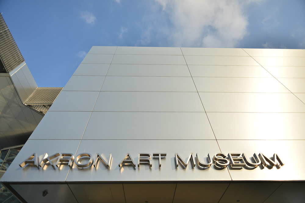 Exterior of the front of the Akron Art Museum.