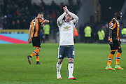 Wayne Rooney Forward of Manchester United applauds the fans during the EFL Cup semi final match 2 between Hull City and Manchester United at the KCOM Stadium, Kingston upon Hull, England on 26 January 2017. Photo by Phil Duncan.
