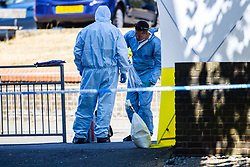 Police investigate the killing of a man in his 20s at Cambridge Gardens in Norbiton, Kingston Upon Thames in West London. London, August 05 2018.