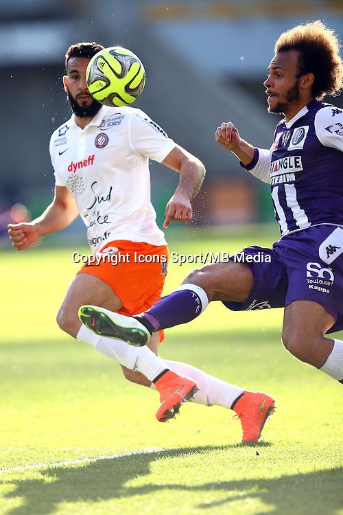 Martin Braithwaite / Abdelhamid El Kaoutari  - 12.04.2015 - Toulouse / Montpellier - 32eme journee de Ligue 1 <br />Photo : Manuel Blondeau / Icon Sport