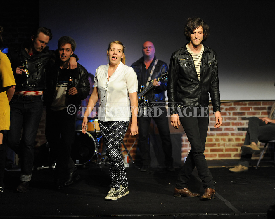 """Rehearsal for Tyler Keith's """"Outlaw Biker"""" at the Powerhouse in Oxford, Miss. on Sunday, October 28, 2012. The production will be performed on Halloween at 8 p.m."""